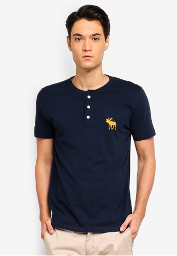 Abercrombie & Fitch navy Exploded Icon Henley T-Shirt 603E8AAA150678GS_1