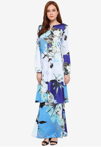 Zuco Fashion green and blue Floral Midi Kurung 5AD8AAA56F3D33GS_1