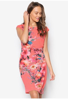 Coral Floral Printed Wrap Dress