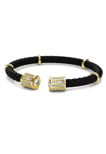 Her Jewellery black and gold Isa Braid Bangle (Yellow Gold) - Made with premium grade crystals from Austria B8055AC612E173GS_1