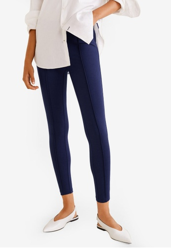 Mango blue Decorative Seam Leggings EBB07AA5EE8AC4GS_1