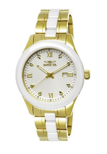 INVICTA gold Invicta Specialty Men 42mm Case Gold, White Stainless Steel, Ceramic Strap Silver Dial Quartz Watch 18154 IN968AC0F5CCSG_1