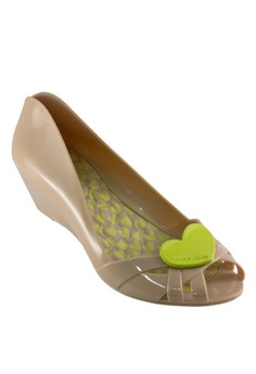 Heart Open Toe Wedge Nude Chic