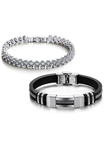 YOUNIQ silver YOUNIQ Dazzling Platinum Silver Bracelet & Silicone with Steel Bracelet (Couple Set) 5D68BACC697BC6GS_1