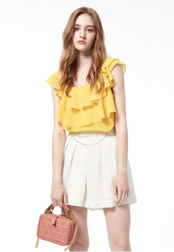 iROO yellow Ruffle Blouse 25BC9AA3292E99GS_1
