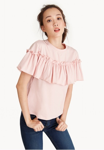 Pomelo pink Ruffled Off Shoulder Tee - Pink C1C47AA9E01F39GS_1