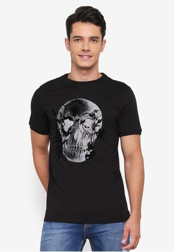 River Island black Floral Skull T-Shirt 9067BAAF7737C1GS_1