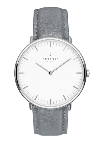 Nordgreen grey and silver Nordgreen Native Silver 36 mm - Grey Leather Watch 093B4ACD75467AGS_1