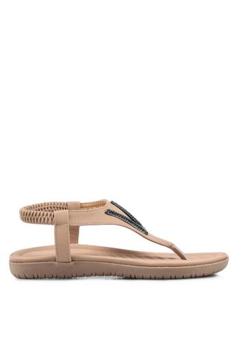 Mimosa pink V Embellished Sandals 02356SH0F6F072GS_1