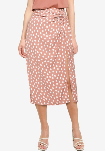 Abercrombie & Fitch pink Knotted Midi Skirt 5398EAA7EEA1C9GS_1