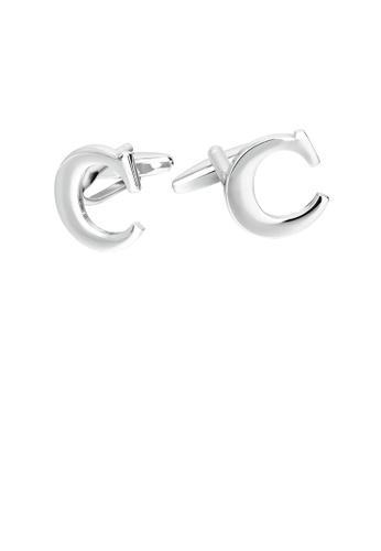 Glamorousky 銀色 簡約個性英文字母C袖扣 0F120ACBC32B44GS_1