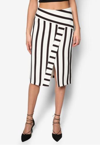 條紋裹飾及膝裙zalora退貨, 服飾, 及膝裙