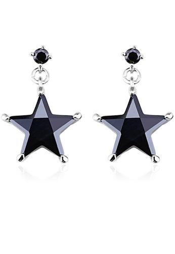 OUXI black OUXI Crystal Star Earrings (Black) OU821AC95FDCMY_1