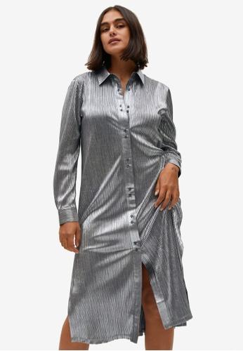 Violeta by MANGO silver Plus Size Metallic Shirt Dress FA239AAA433808GS_1