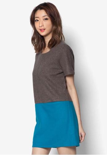zalora是哪裡的牌子色塊T 恤連身裙, 服飾, 短洋裝