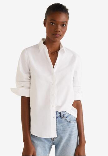 Mango white Essential Cotton-Blend Shirt BBF51AA10ADBF3GS_1