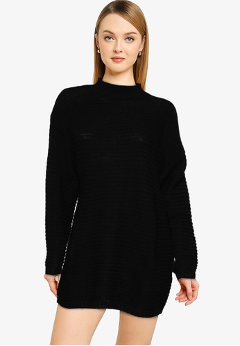 MISSGUIDED black Petite Rib Knit High Neck Micro Jumper Dress D3C00AAF1C413AGS_1