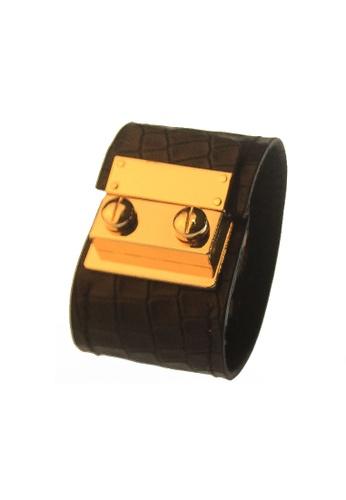 CSHEON black and gold Secret Code Croc Skin Print Bracelet Cuff Black 14715ACF8F753EGS_1