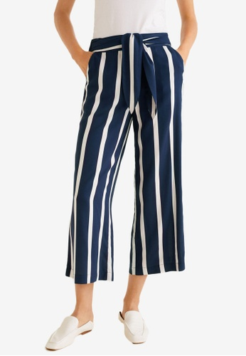 Mango blue Striped Bow Trousers 0D5C2AAD097622GS_1