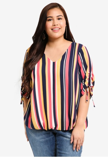 Dorothy Perkins multi Plus Size Multi Striped Ruuched Sleeve Top 48420AA5B7FF5AGS_1
