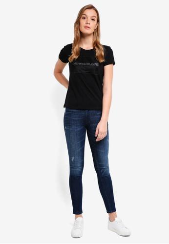 Calvin Klein black A-Instit Organza Log T-Shirt - Calvin Klein Jeans 47636AA3219025GS_1