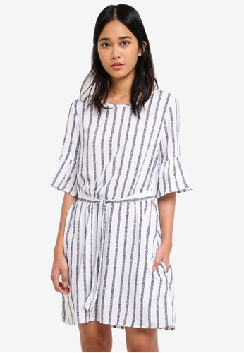 Cotton On white and multi Woven Felicia Frill Sleeve Dress CE767AA508F271GS_1