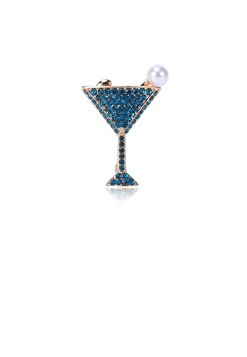 Glamorousky white Fashion Bright Plated Gold Wine Glass Imitation Pearl Brooch with Blue Cubic Zirconia AF1A4AC9673B4FGS_1