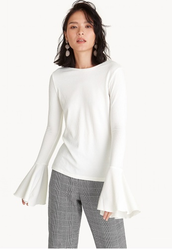 Pomelo white Flounce Sleeve Jersey Top - White 7E96DAADF99CBAGS_1