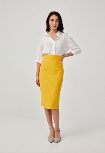 Love, Bonito yellow Portia Broderie Anglaise Pencil Skirt EDA48AA9148AAFGS_1