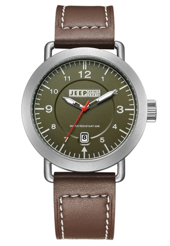 Jeep Spirit Mutifunction Men's Watch JPS50303 Army Green Silver Brown Leather