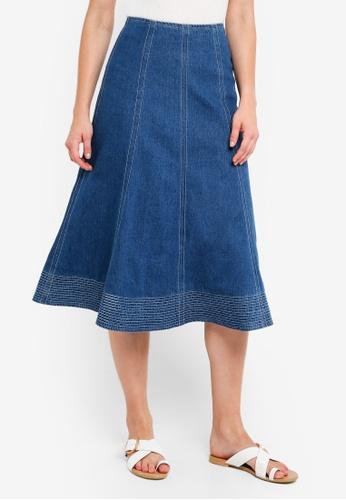MDSCollections blue Flared Denim Skirt B8294AA59EA9BEGS_1
