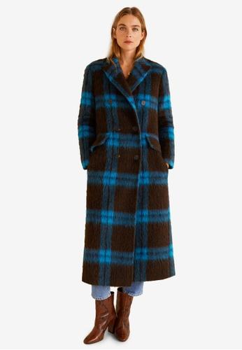 Mango blue Checkered Wool-Blend Coat 4DFA1AA1DA1BA6GS_1