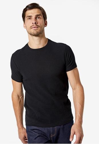 Burton Menswear London 黑色 黑色 Waffle 修身紋理T恤 0DDAEAACDF7FF0GS_1