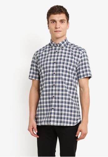 ESPRIT blue Woven Short Sleeve Shirt ES374AA0RXX9MY_1