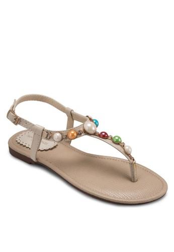 糖果色閃飾夾腳涼鞋esprit地址, 女鞋, 涼鞋