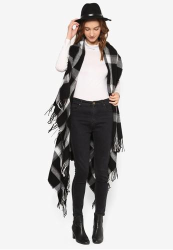 流蘇格紋無袖罩esprit香港分店衫, 服飾, 外套
