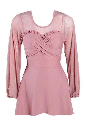 Its Me pink Elegant Gauze Large Open Back One-Piece Swimsuit 70B04US4D785D9GS_1