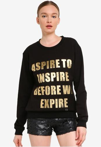 FK by Farah Khan black ASPIRE TO INSPIRE BEFORE WE EXPIRE Printed Sweatshirt 00A5FAABB045D2GS_1