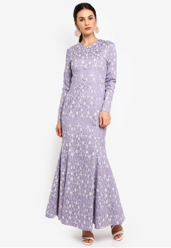 Zalia purple Embellished Lace Mermaid Dress 8ECBBAA30AAB20GS_1