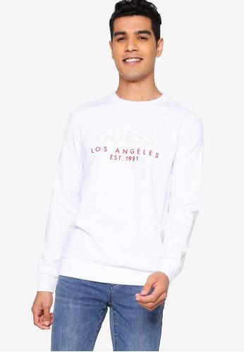 Guess white Guess Mens Long-sleeve Logo Sweatshirt 493FCAA1A6A7C9GS_1