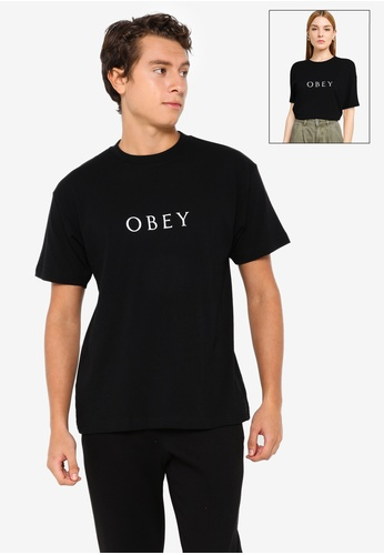 OBEY black Novel Obey 3 Tee AD907AA08C10E5GS_1
