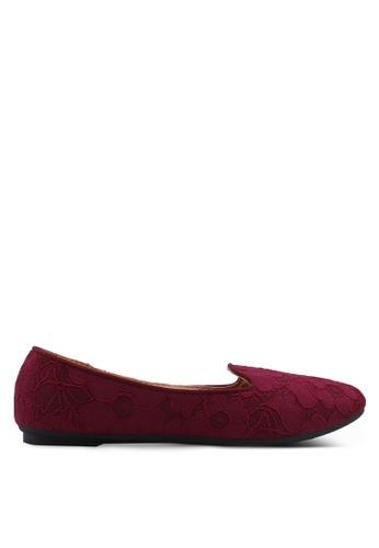 Noveni red Textured Round Toe Flats 9660ESHAC455BFGS_1