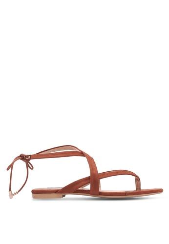 ZALORA brown Tie-Back Strappy Sandals B865ESH34399BCGS_1