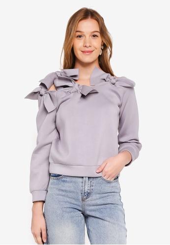 LOST INK grey Bardot Bow Scuba Sweater 9B7E3AA81E8343GS_1