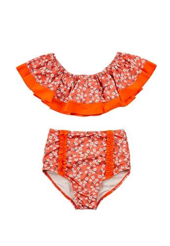 ZITIQUE orange Women's Floral Pattern Off Shoulder Two Piece Swimsuit - Orange 0DE53US7F03325GS_1