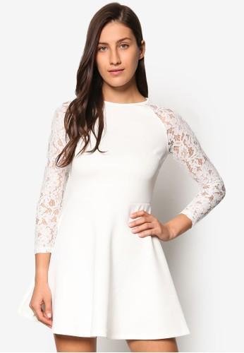 蕾絲拉克蘭長袖傘擺洋裝、 服飾、 洋裝SomethingBorrowed蕾絲拉克蘭長袖傘擺洋裝最新折價