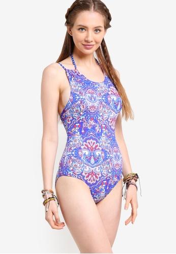 Piha blue Boho Stripe Twin Strap Lacing Swimsuit PI734US32JGHMY_1