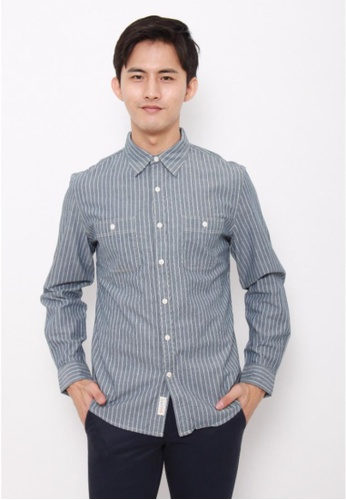 Dockers blue Dockers Chambray Long Sleeve Shirt Stripe Real Indigo E8098AA3A9D1F4GS_1