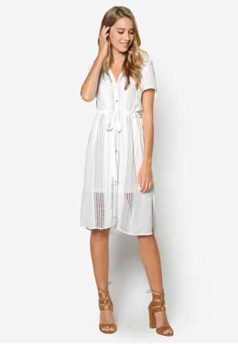 鉤針拼esprit outlet 台中接襯衫式洋裝, 服飾, 服飾