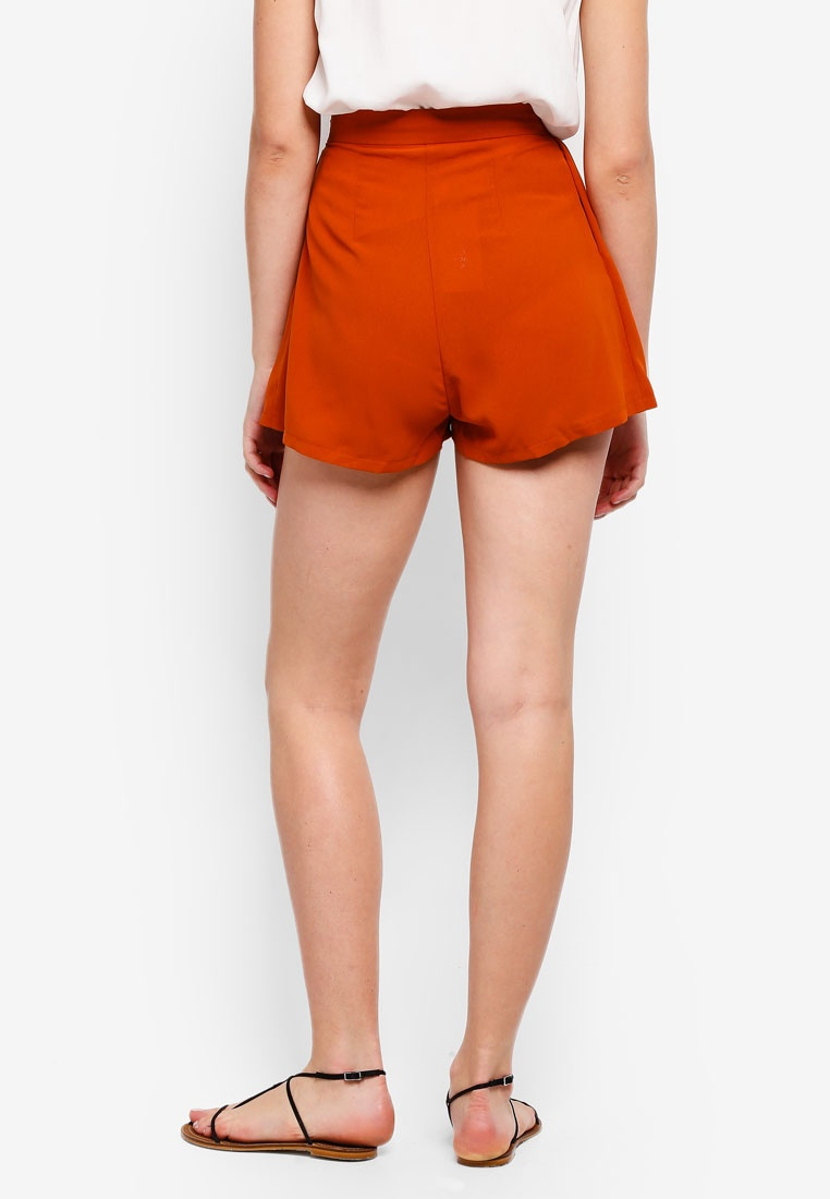 Basic ZALORA BASICS Pleated Orange Shorts Burnt FF5rxwqA